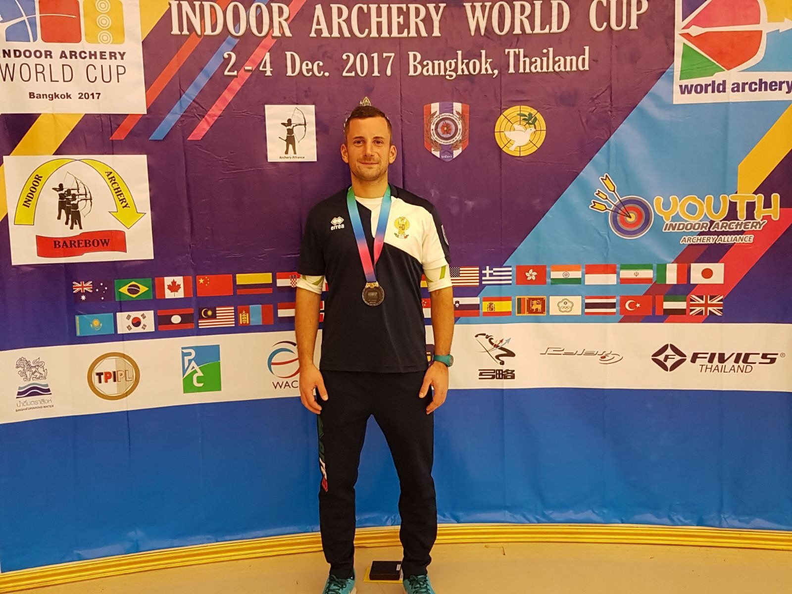 Bangkok hosts the second round of the Indoor Archery World Cup: Matteo Fissore takes silver!