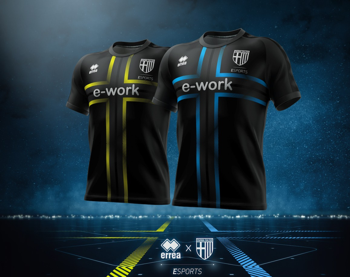 Erreà unveils the official shirts of the Parma Calcio 1913 E-Sports team, for the first time ever, dedicated and totally customised