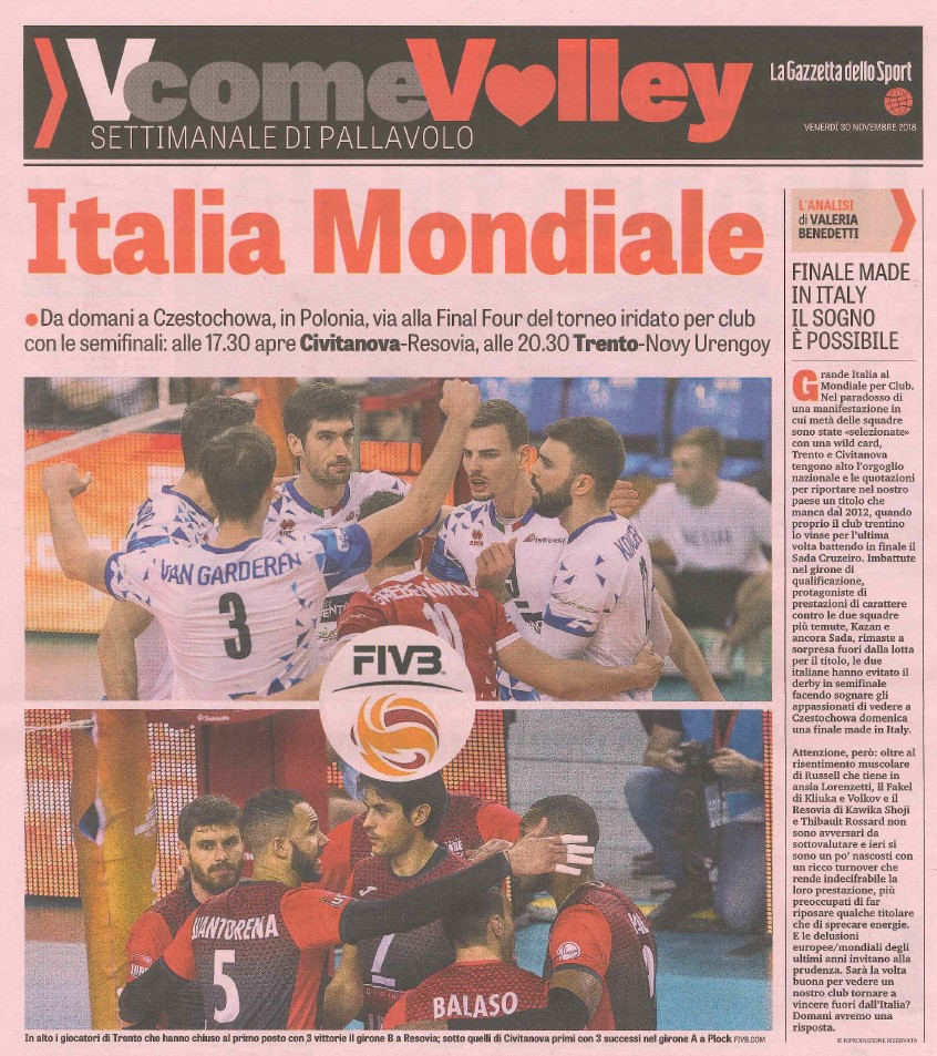 Gazzetta dello Sport - Mondiale per Club Trentino Volley - 30 November 2018