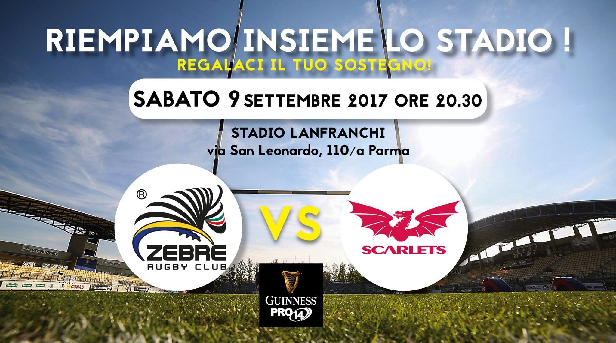 Saturday 9 September sees Zebre play their opening home game in the new Guinness Pro14 tournament