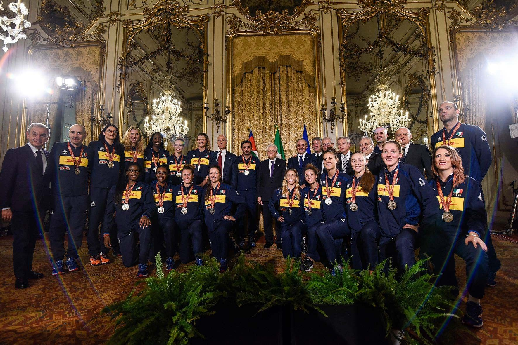 The President of Italy, Sergio Mattarella, receives the National women's volleyball team at the Quirinale Palace