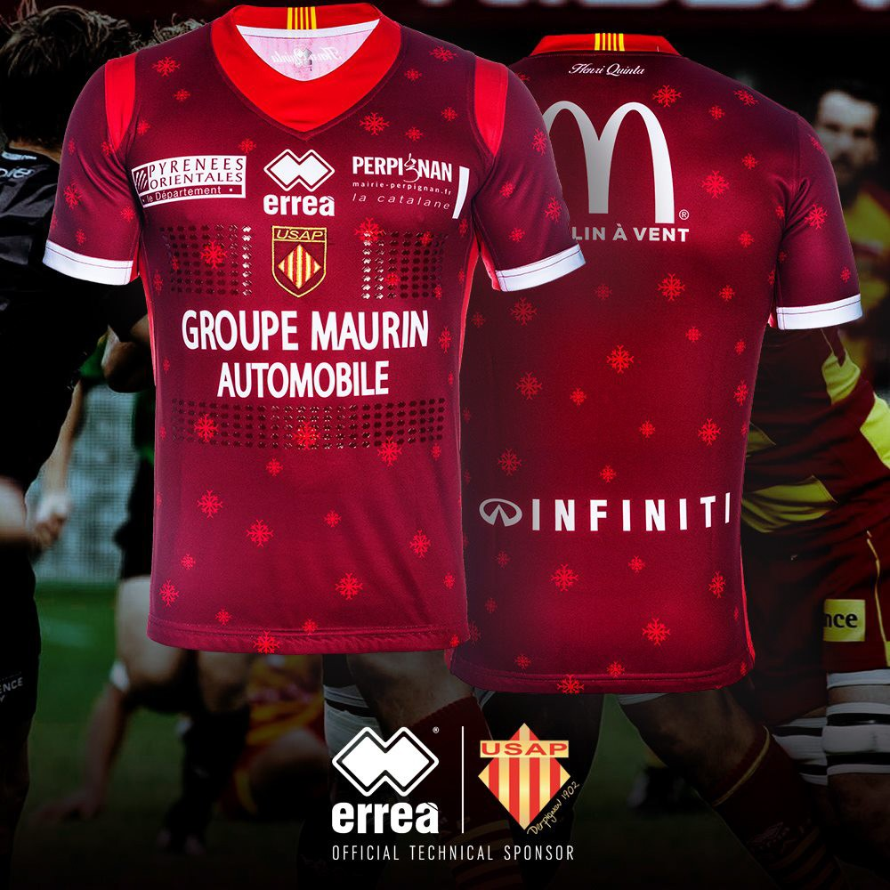 """USAP Rugby unveils it's special """"Christmas edition"""" shirt sporting the Erreà logo!"""
