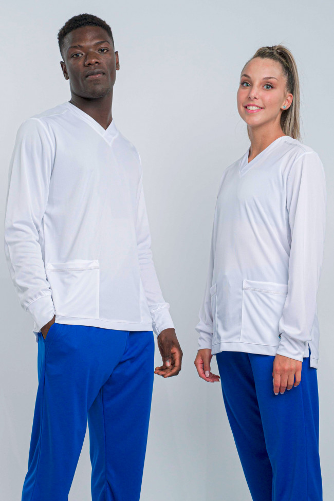 SCRUB TOP-9 LONG SLEEVED IN TI-ENERGY 3.0 (DPI) BIANCO-1 - POINT